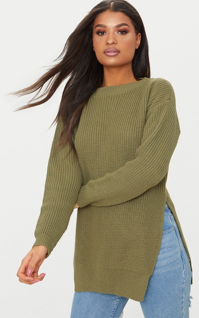 Rexx Khaki Round Neck Side Split Jumper