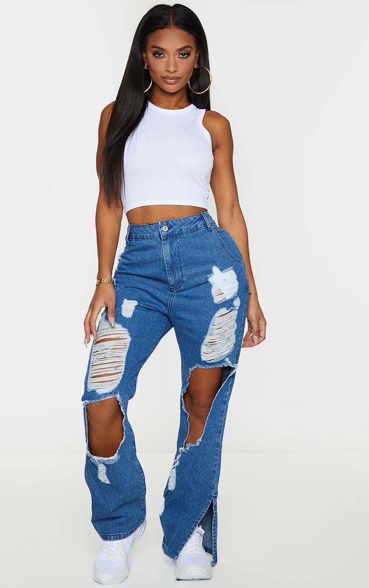 Shape Mid Blue Wash Extreme Distressed Split Hem Jeans 1