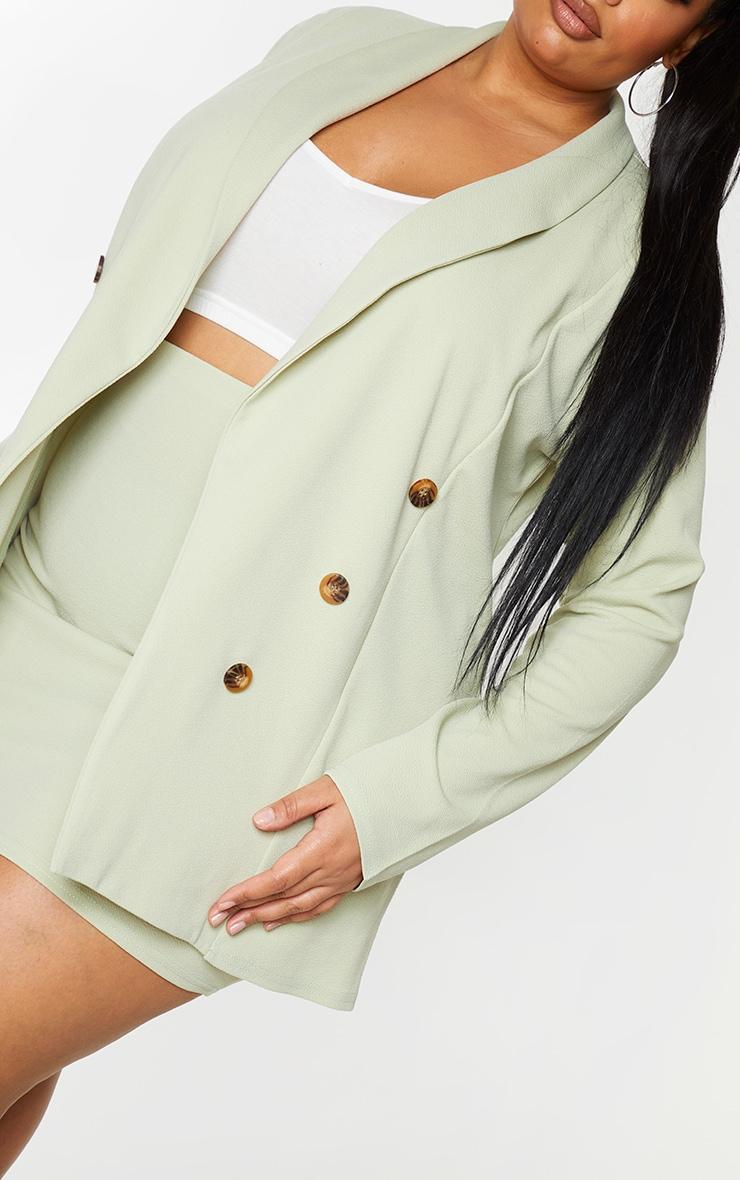 Plus Sage Green Oversized Button Detail Blazer 4