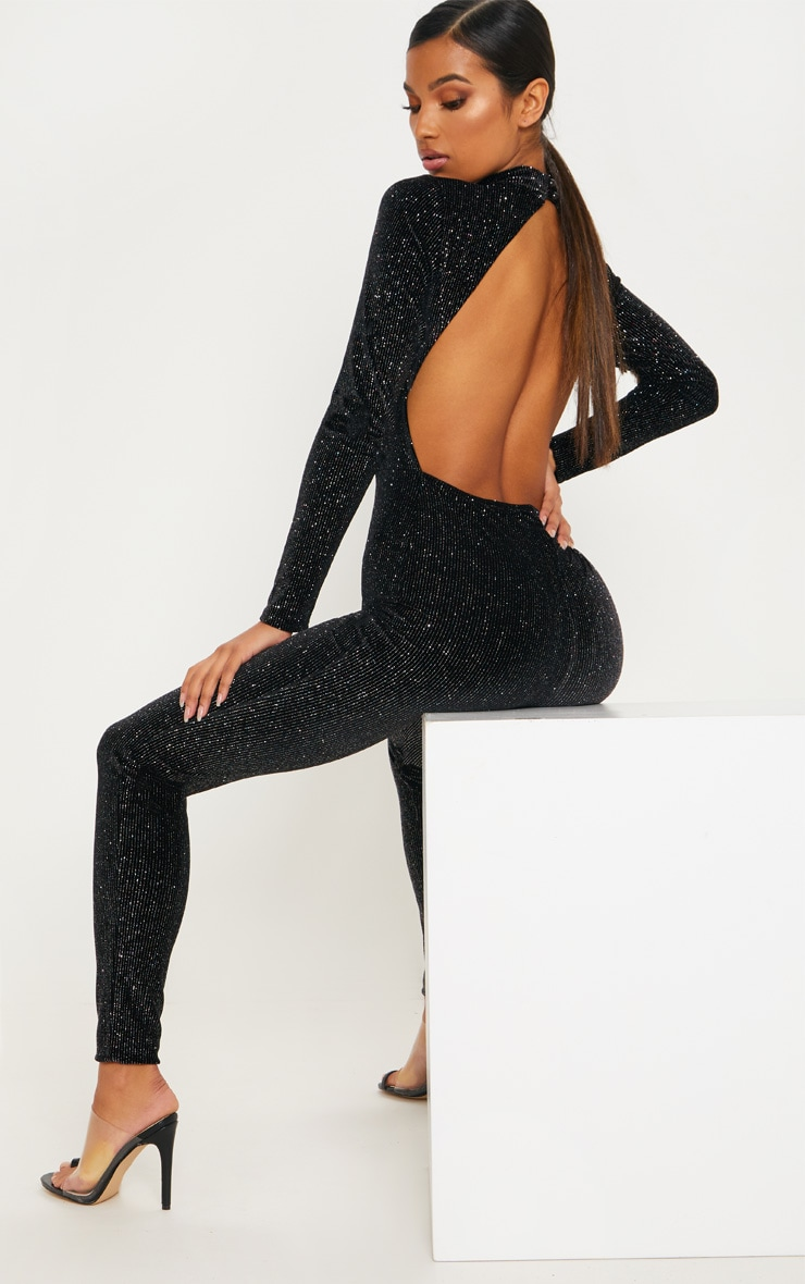 38e33421f42a Black Velvet Glitter Stripe Backless Jumpsuit image 1