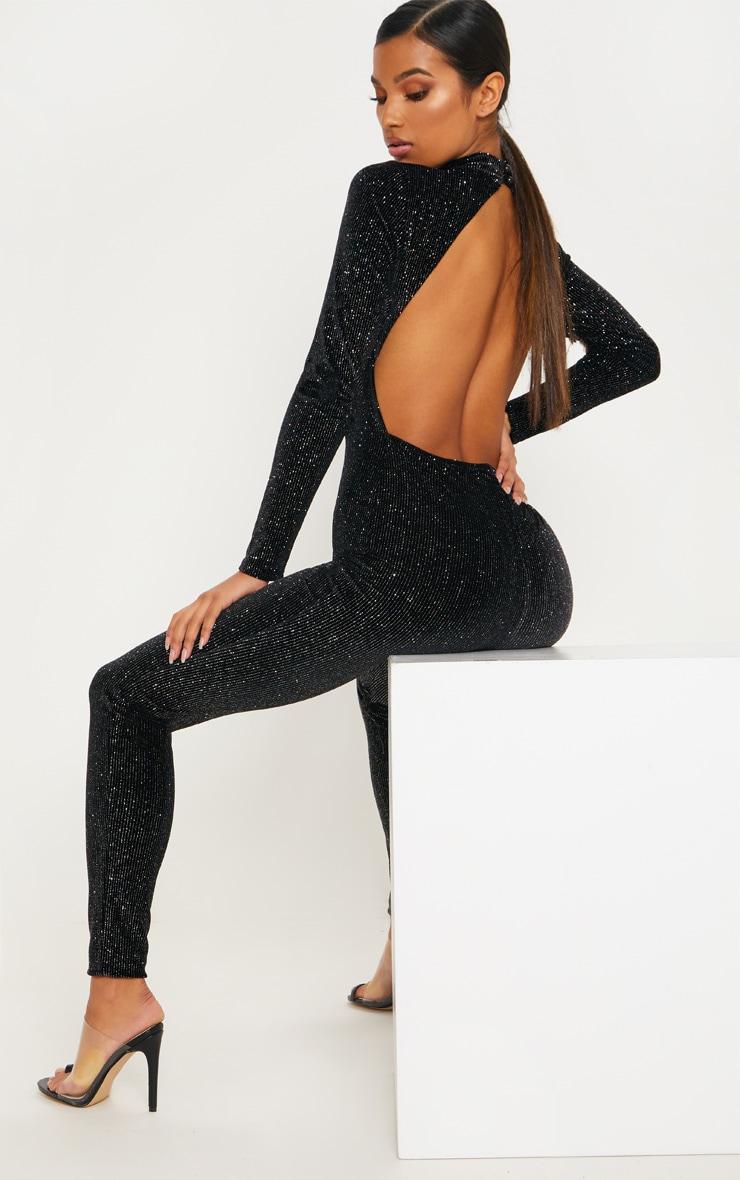 Black Velvet Glitter Stripe Backless Jumpsuit by Prettylittlething