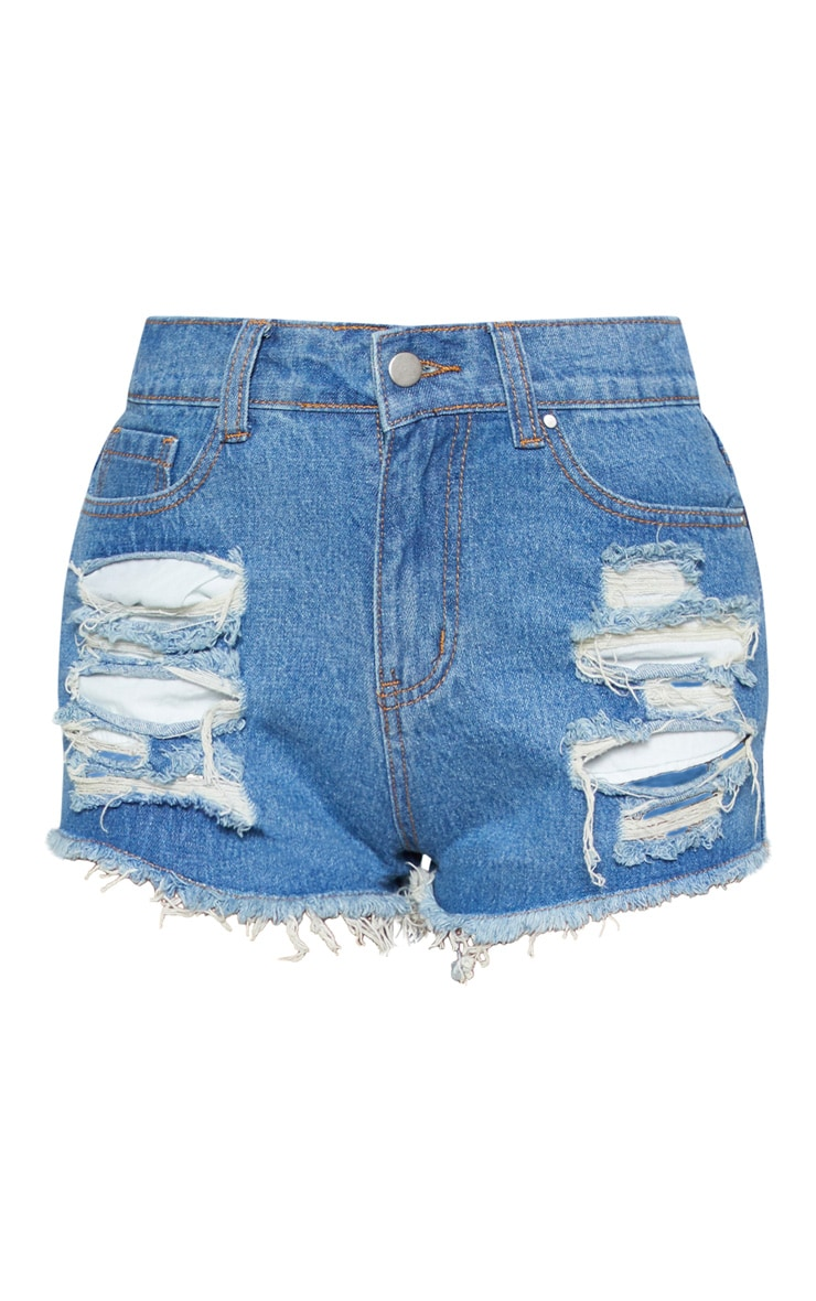 Mid Wash Ripped Denim Hot Pants 3
