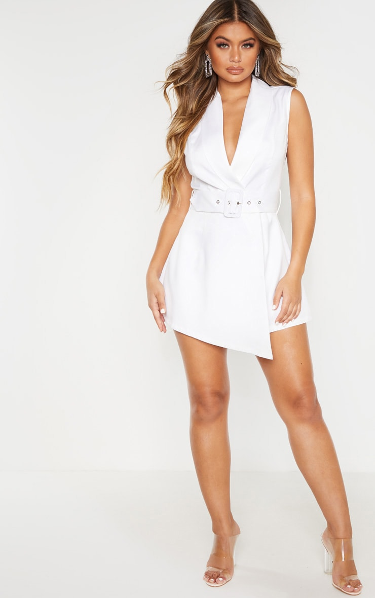 White Tailored Belted Romper 4