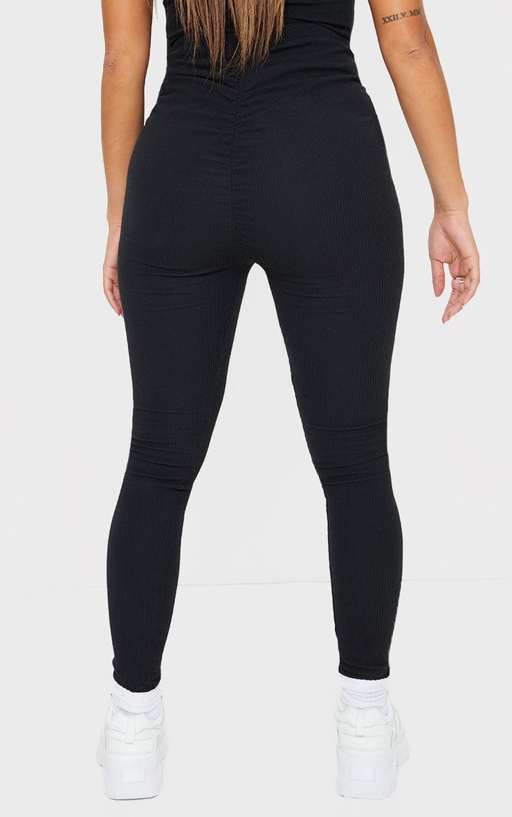 Shape Black Textured Rib Ruched Bum Leggings 3
