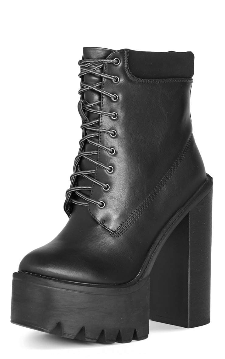Imani Black Lace Up Cleated Heel Boot 3