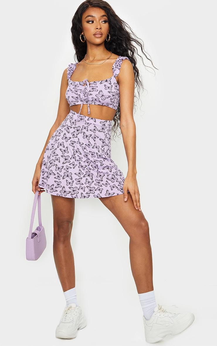 Purple Butterfly Print Floral Skater Skirt 1