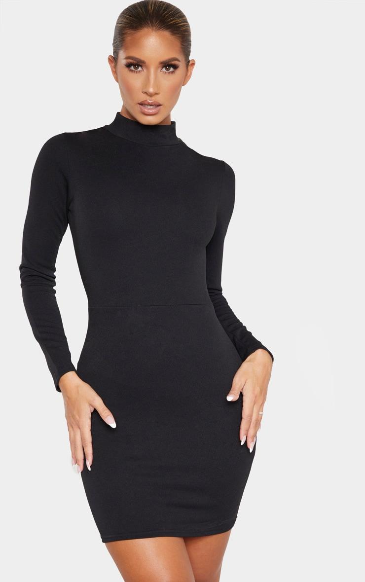Black Long Sleeve High Neck Cut Out Bodycon Dress 1