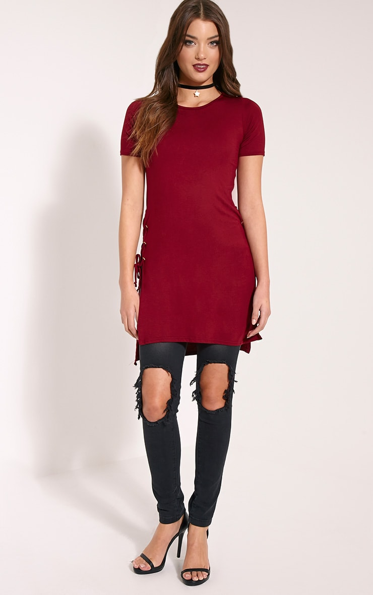 Andromeda Wine Eyelet Tie Side Jersey T-Shirt 3