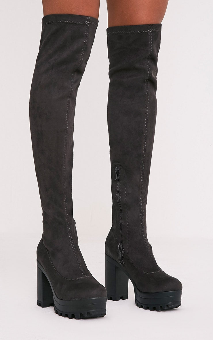 Kymberly Grey Platform Cleated Sole Knee High Boots 2
