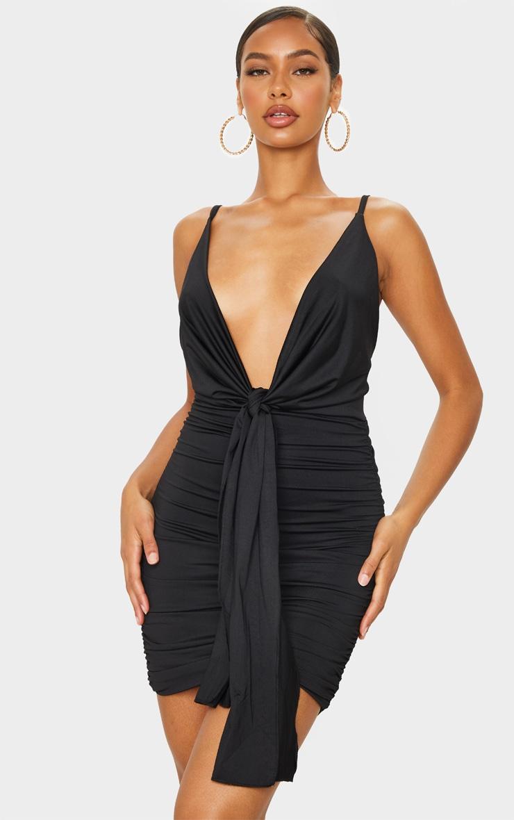 Black Slinky Cowl Drape Ruched Bodycon Dress