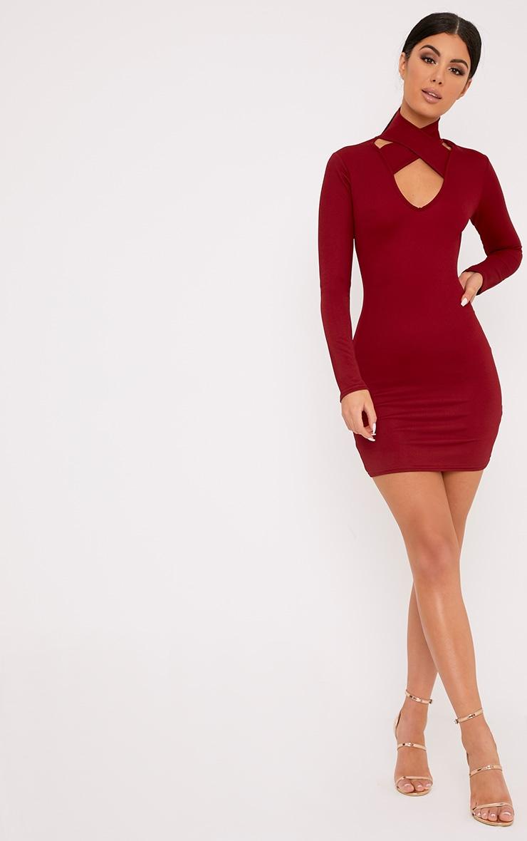 Maryana Burgundy Plunge Choker Neck Bodycon Dress 4