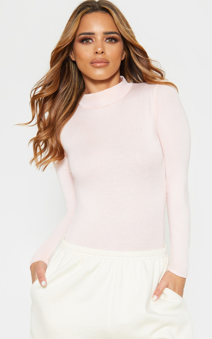 Petite Baby Pink Basic High Neck Bodysuit 1