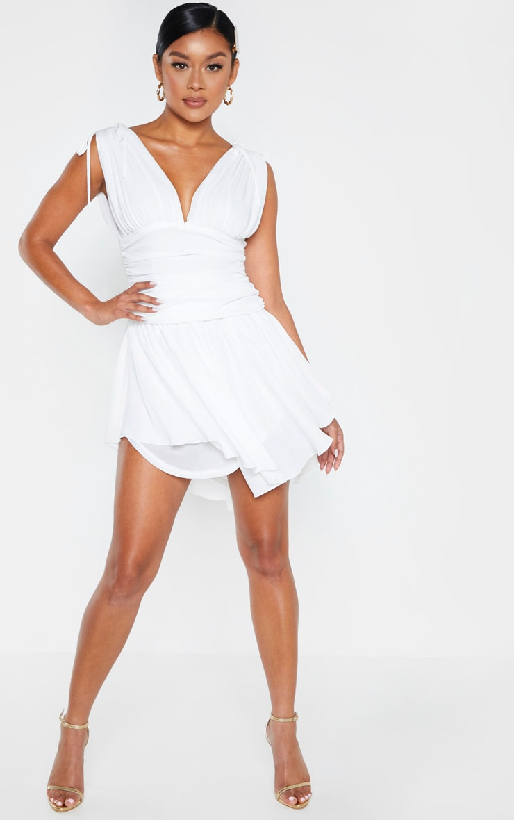 White Plunge Ruched Waist Asymmetric Hem Shift Dress 1