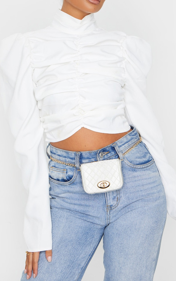 White Quilted Bag Gold Chain Belt 2