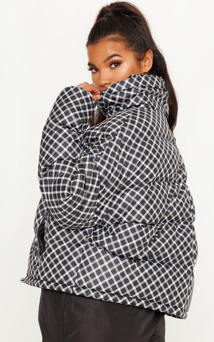 Black Checked Puffer  2