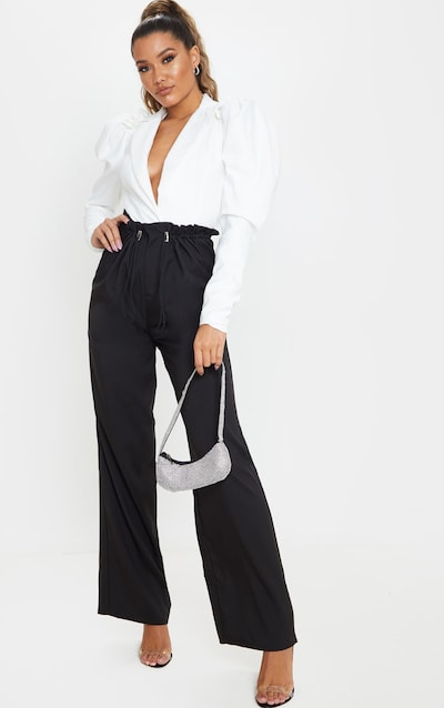 Black Drawstring Waist Wide Leg Trouser