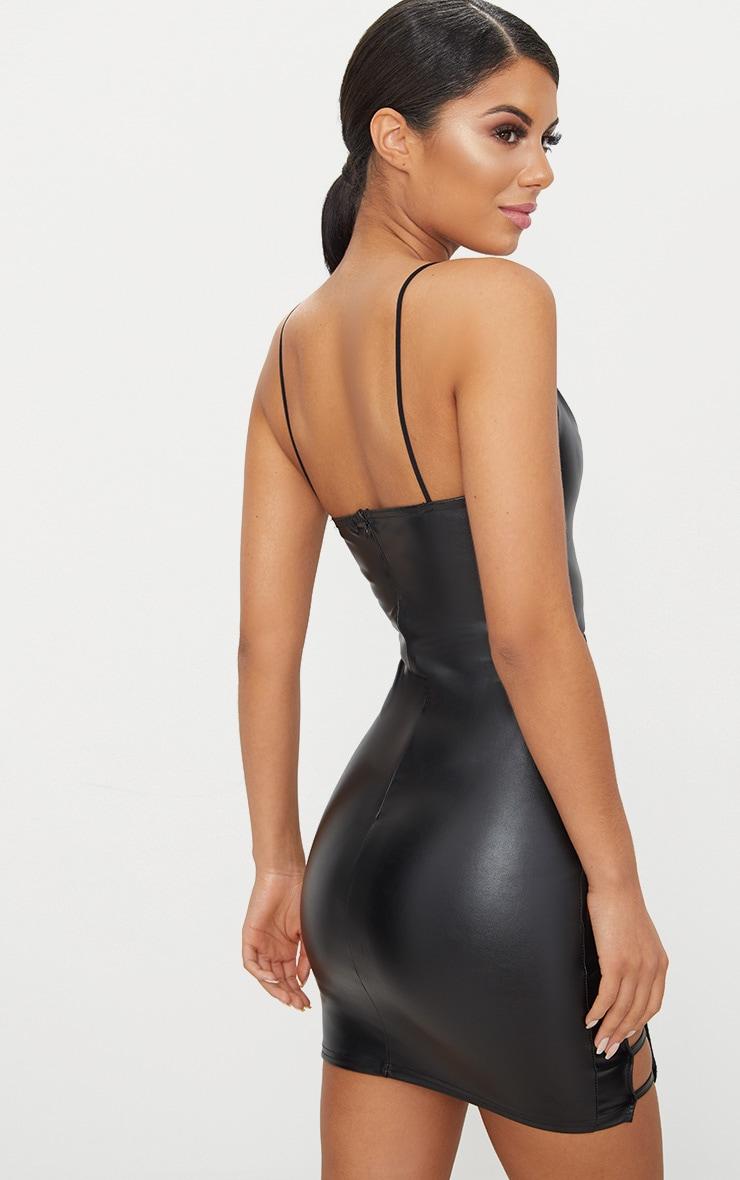 Black PU Extreme Split Bodycon Dress 2