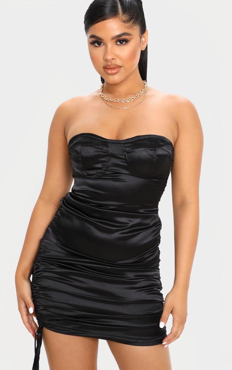 Petite Black Corset Detail Ruched Side Satin Mini Dress  1