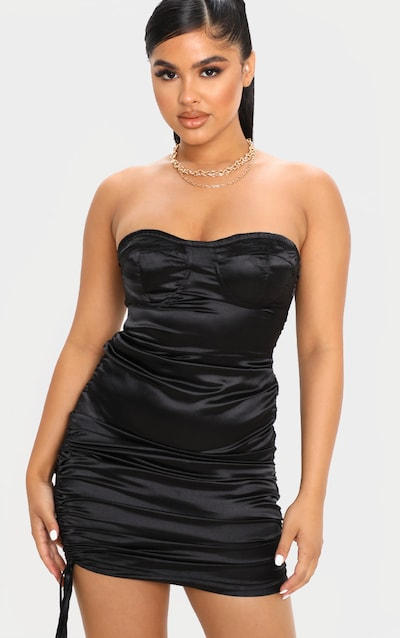 Petite Black Corset Detail Ruched Side Satin Mini Dress