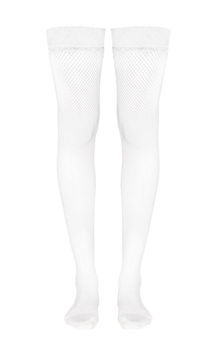 White Lace Top Fishnet Hold Ups 2