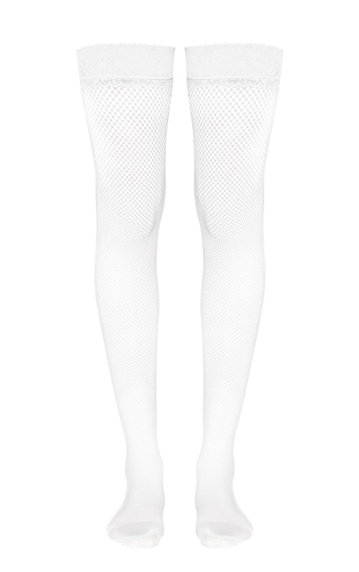 White Lace Top Fishnet Hold Ups
