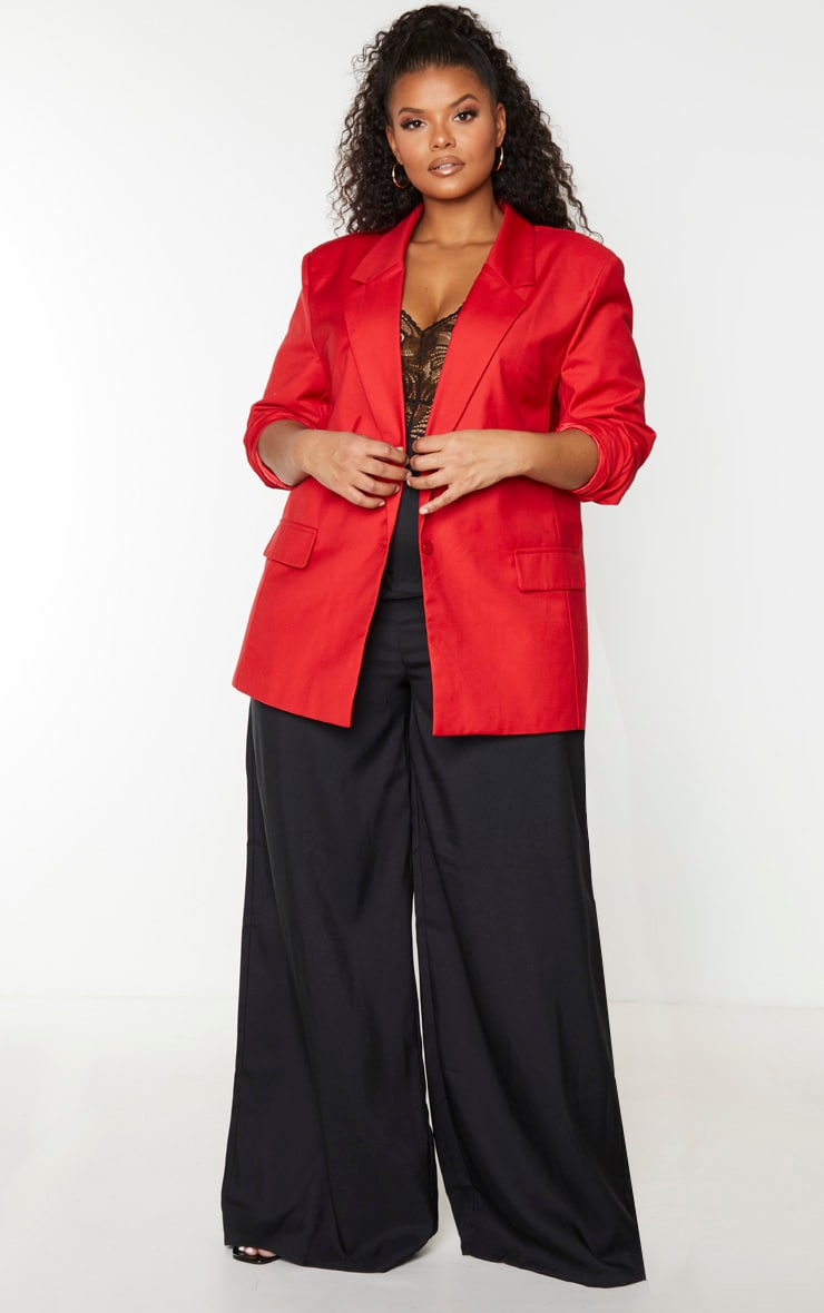 Plus Red Longline Oversized Woven Blazer 4