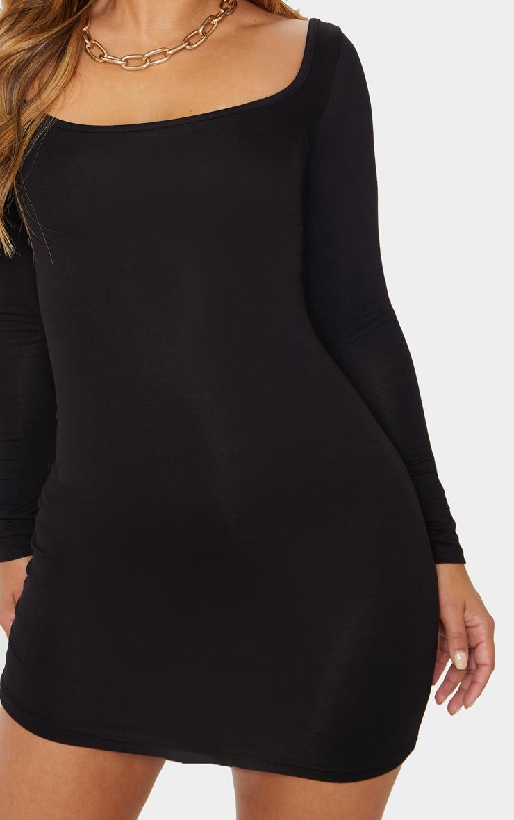 Petite Black Long Sleeve Jersey Mini Dress 4