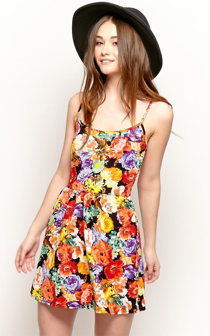 Sara Orange Floral Skater Dress 5