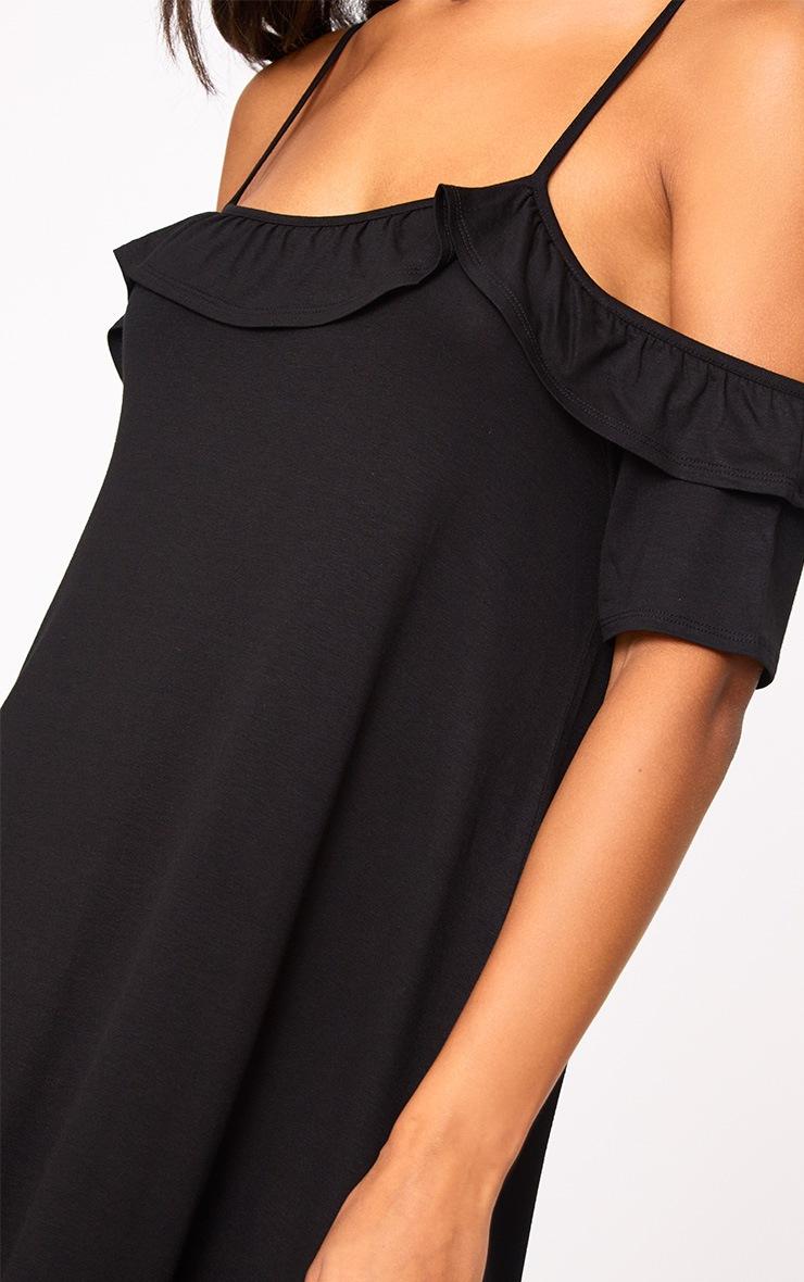Black Cold Shoulder Shift Dress 5