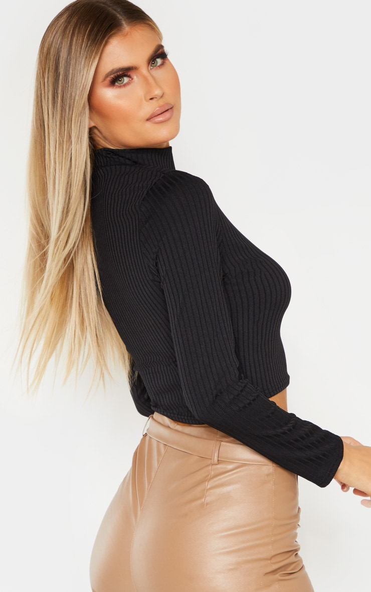Tall Black High Neck Ribbed Long Sleeve Crop Top 2