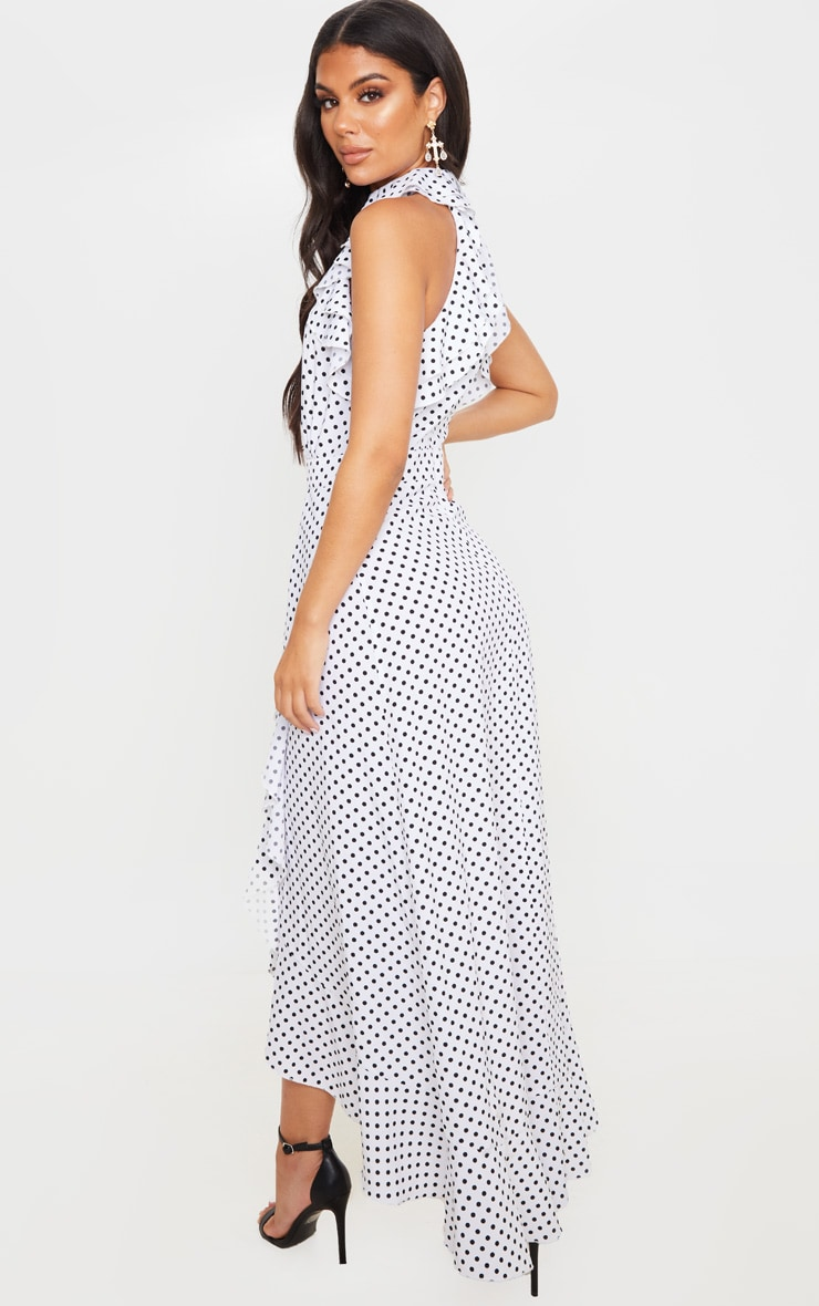 White Polka Dot Frill Detail Wrap Maxi Dress 2