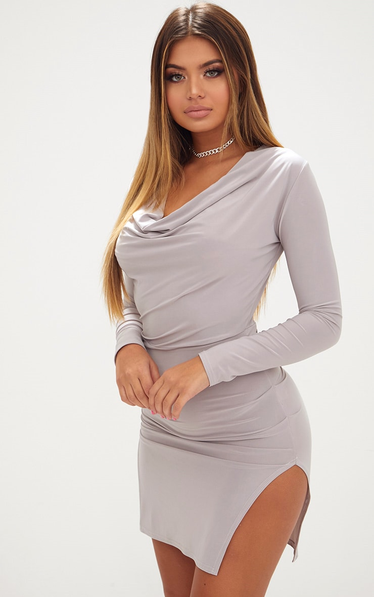 Ice Grey Cowl Neck Long Sleeve Bodycon Dress 1
