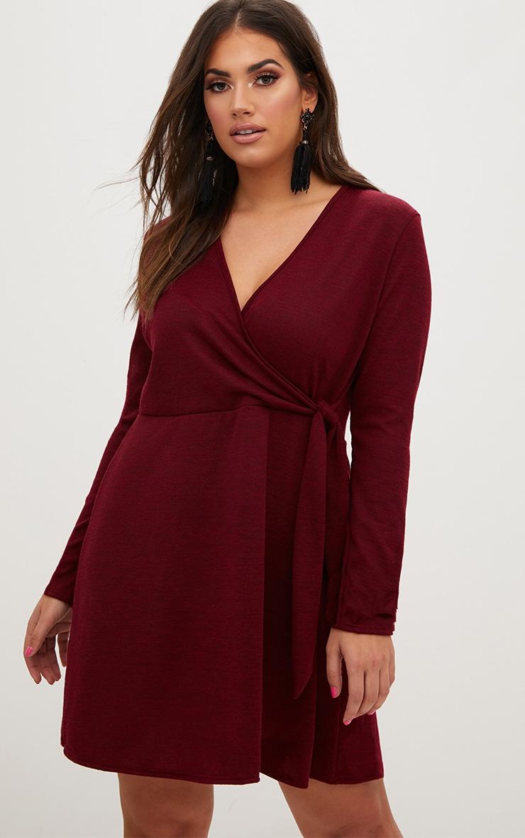 Plus Wine Tie Side Skater Dress