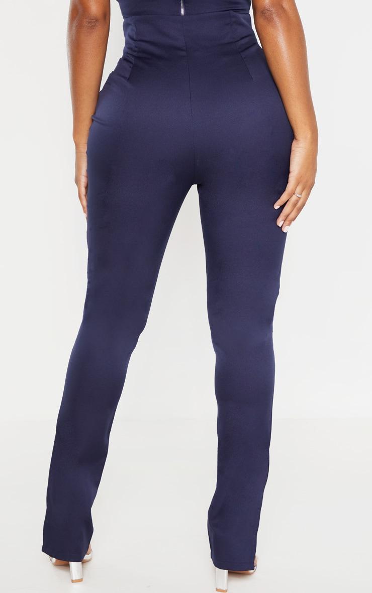 Shape Navy Button Detail Straight Leg Pants 4