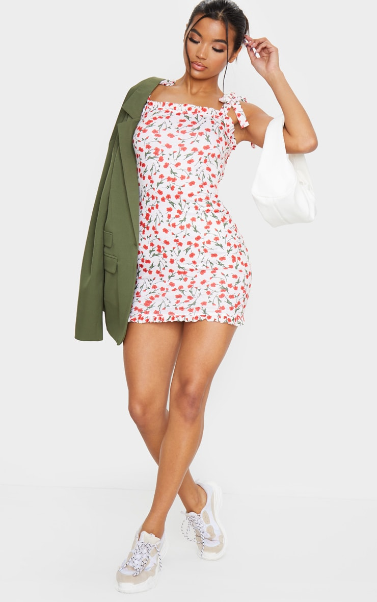 Cream Floral Print Tie Shoulder Frill Detail Shift Dress 3