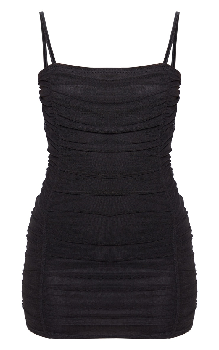 Petite Black Strappy Ruched Front Mini Dress  3