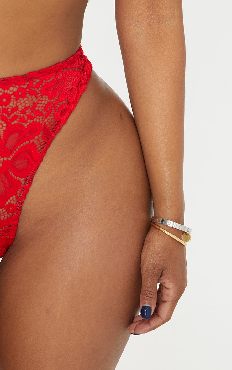 Shape Red Lace Thong 7
