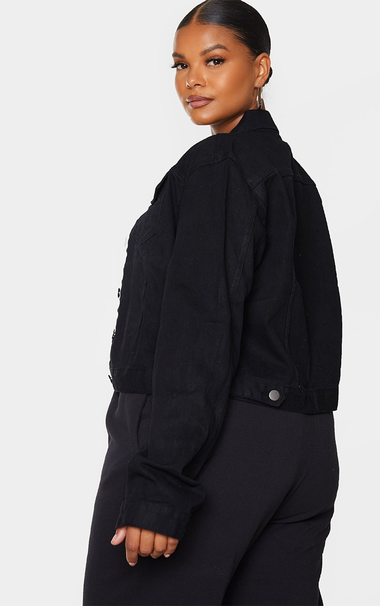 Plus Black Cropped Denim Jacket 2