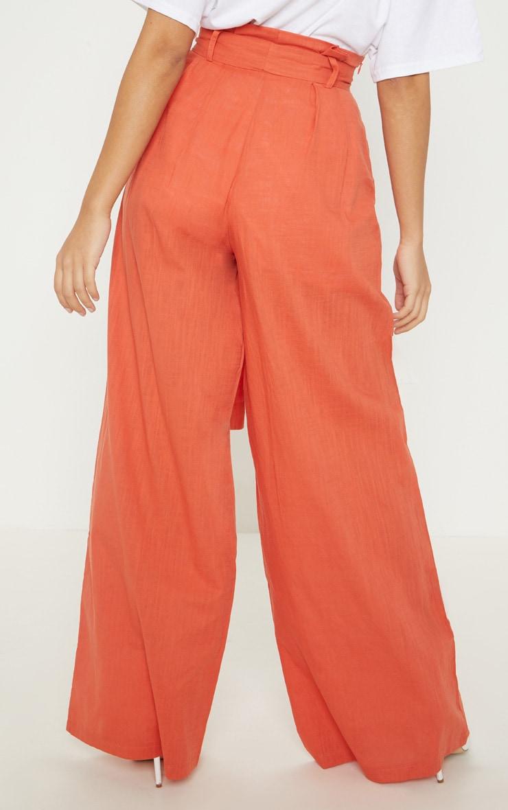 Petite Rust  High Waist Paper Bag Wide Leg Pants 4