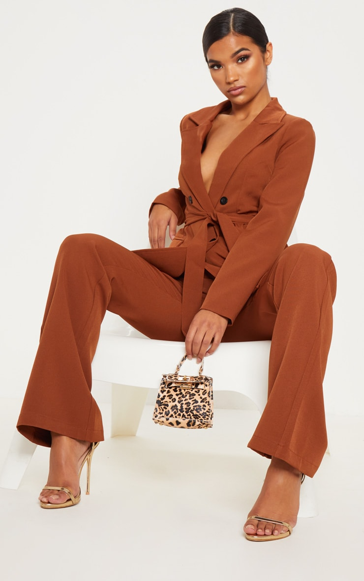 Chocolate Brown Belted Longline Blazer  4