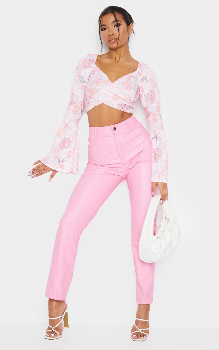 Pink Floral Print Shirred Long Sleeve Crop Top 3