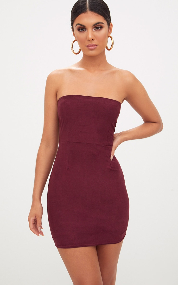 Burgundy Faux Suede Bodycon Dress 1