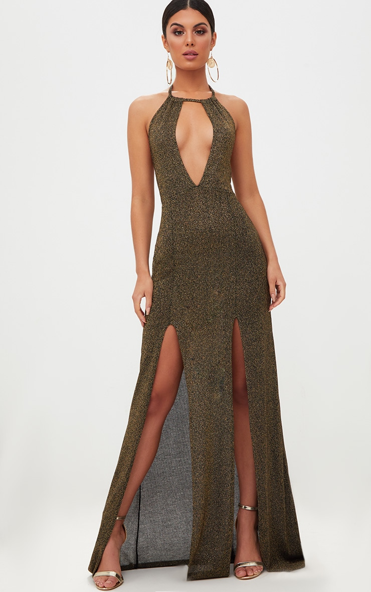 Gold Glitter Lurex Halterneck Maxi Dress 1