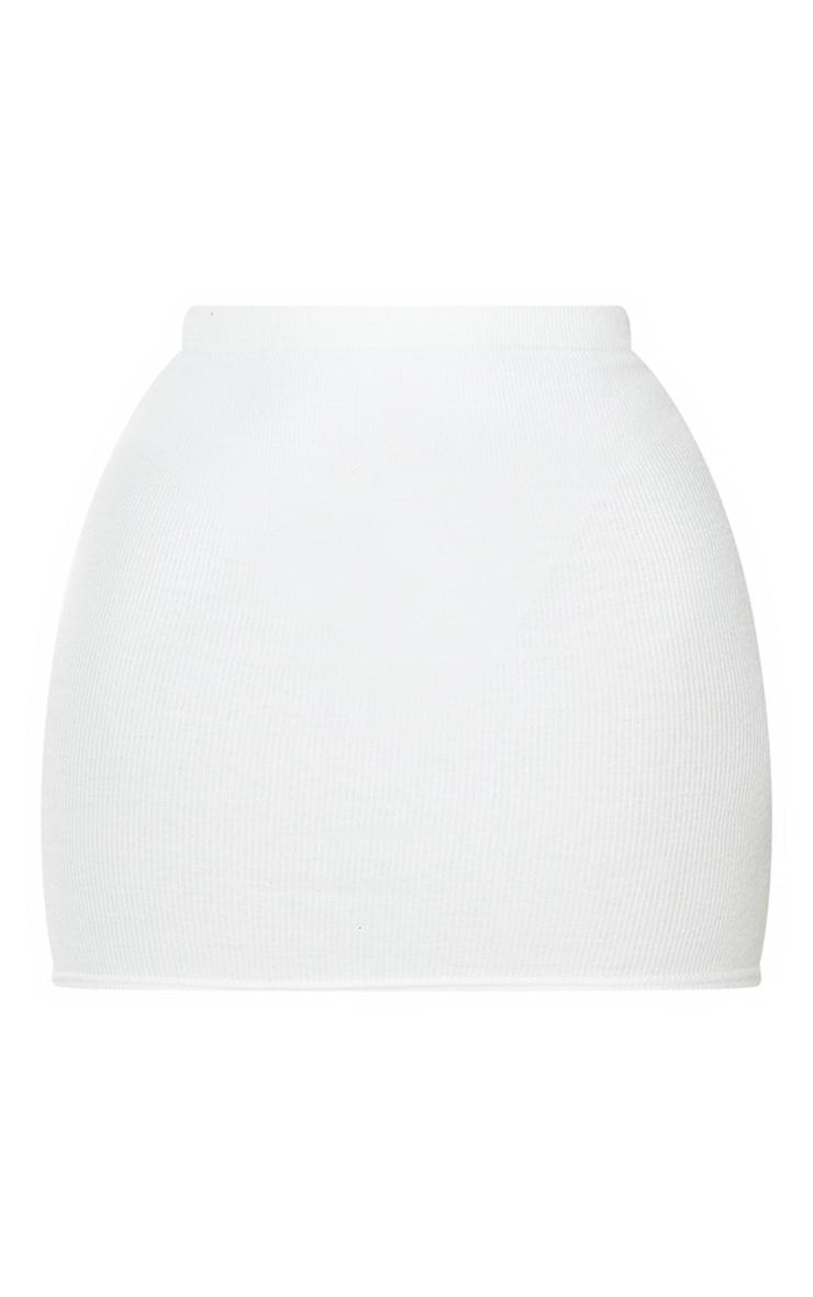 Mini-jupe crème en maille côtelée brossée douce 6