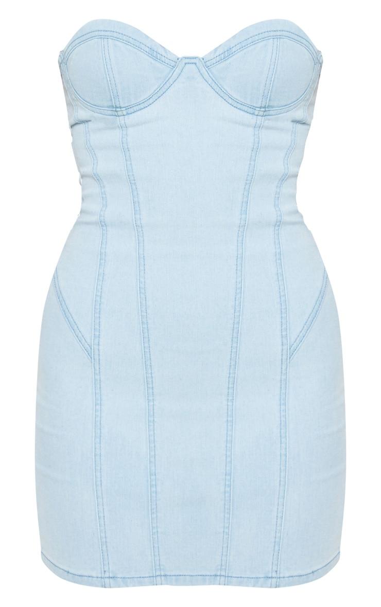 Light Wash Bandeau Denim Dress 3