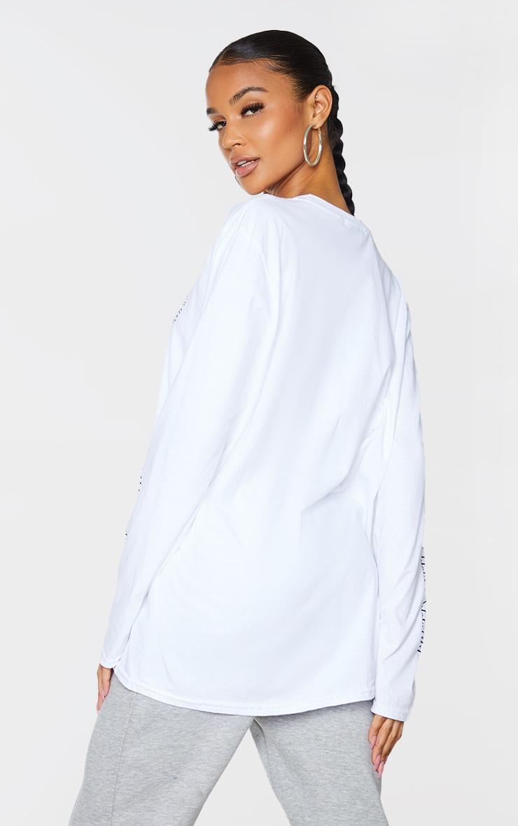 PRETTYLITTLETHING White Hangover Club Arm Print Long Sleeve T Shirt 2
