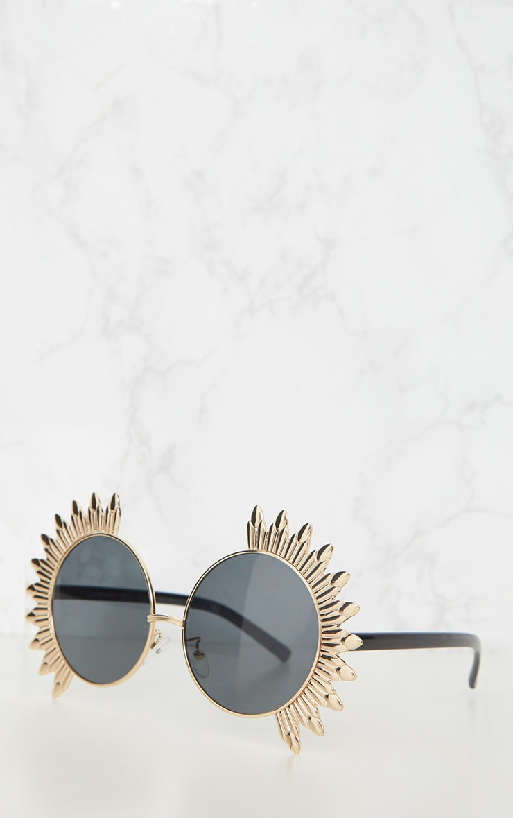 Gold Statement Frame Round Sunglasses 3