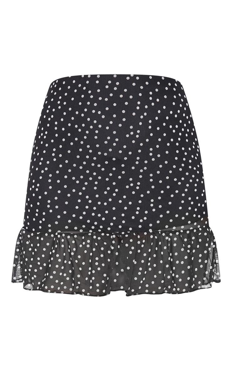 Black Polkadot Mesh Frill Hem Mini Skirt 3