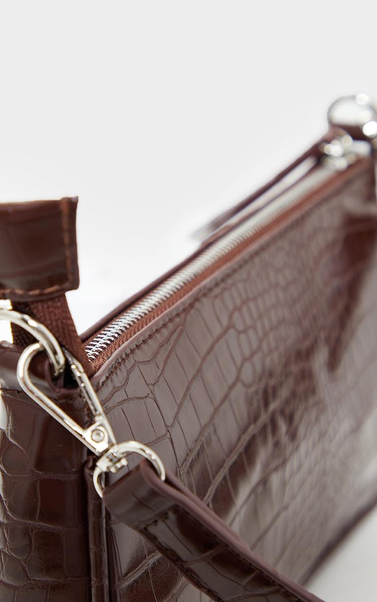 Chocolate Croc Shoulder Bag 4