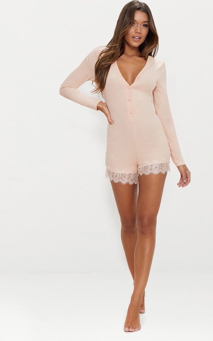 Pale Pink Ribbed Lace Trim PJ Romper 4